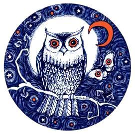 Night Owl art print from the original owl drawing by Liza Paizis