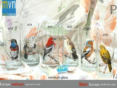 Set of handpainted glasses: BIRDS OF EUROPE