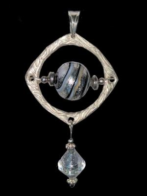 Sterling and White Gold Lined Venetian Pendant