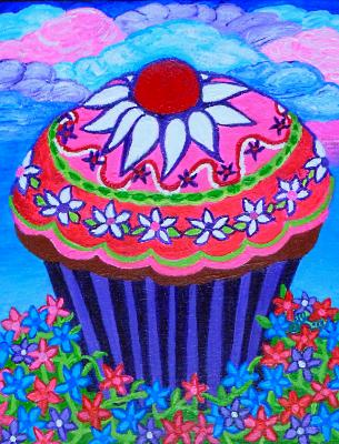 Garden Cupcake with Cotton Candy Clouds
