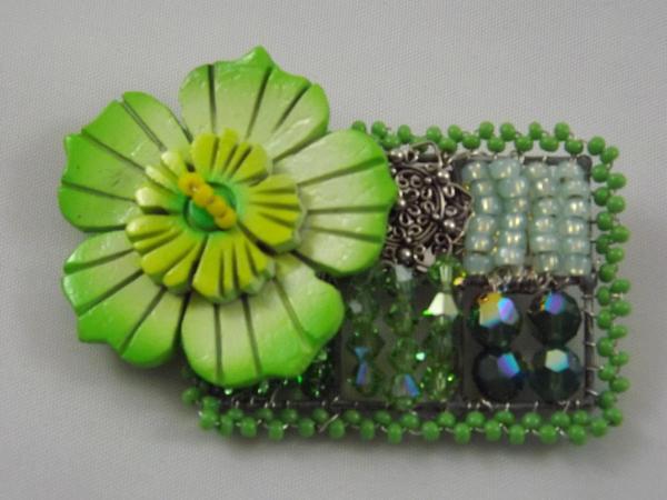 Lime Green Flower Brooch