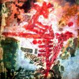 Red lettres on panell