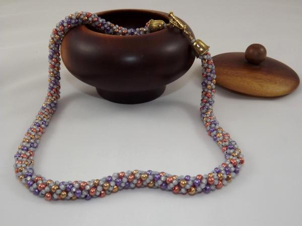 N-3 Purple, Grey, Copper, & Gold Russian Spiral Necklace