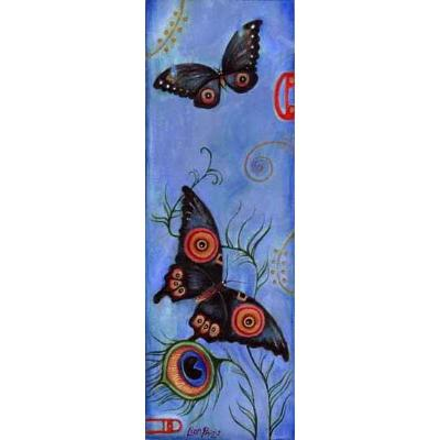 Japanese Butterflies - painting with peacock feathers
