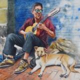 Portrait of a street guitarist, 35cm x 50cm, 2019