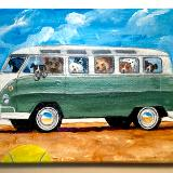 BUSFULL OF DOGS HIT THE BEACH