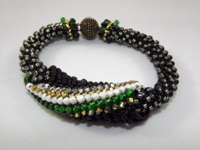 B-34 midnight black crocheted rope bracelet with slide