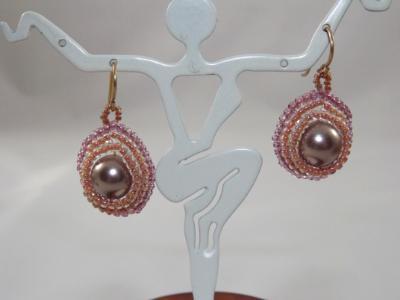 E-52 Cocoa Pearl & Bead Earrings