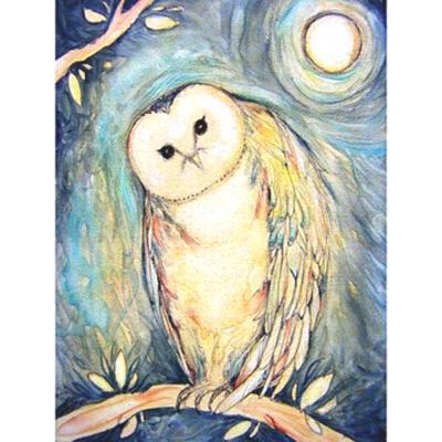 """Blue Owl"" note card original art owl card by Lize Paizis"