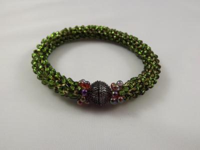B-66 sparkling dark olive crocheted rope bracelet