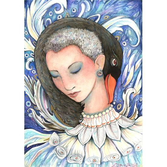 Leda and the Swan original painting by Liza Paizis