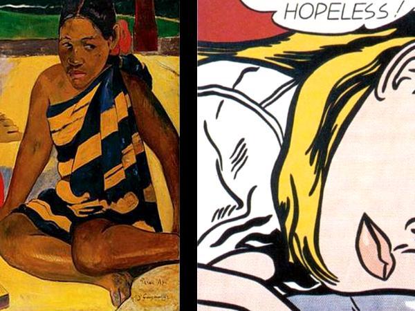 Gauguin and Lichtenstein painting