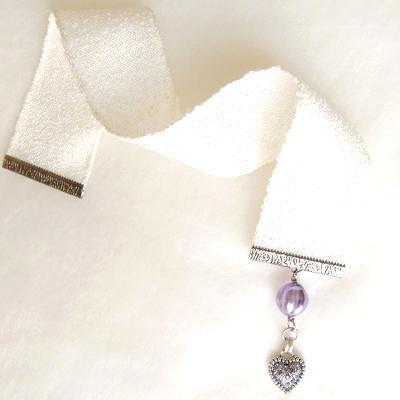 textile bookmark rhinestone heart