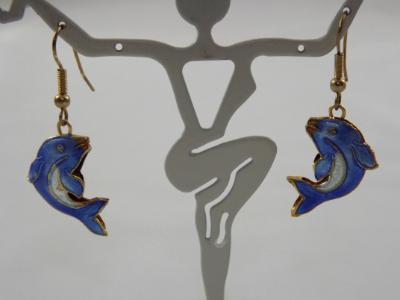 E-75 Cloissone Blue Dolphin Bead Earrings