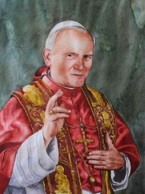 Portrait of Pope JOHN PAUL II, 80cm x 60cm, 2014