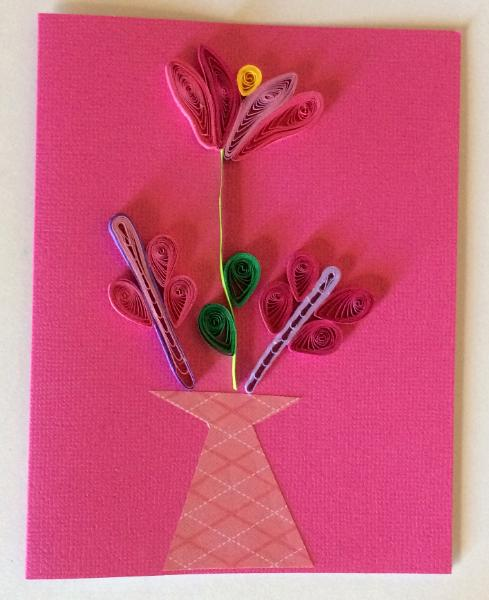 Pink vase with flowers handmade quilling greeting card artistic pink vase with flowers handmade quilling greeting card kristyandbryce Images