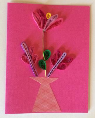 Pink Vase with flowers handmade quilling greeting card