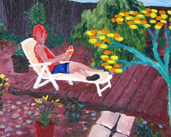 Kathleen in backyard