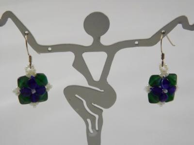 E-28 Blue & Green Flower Earrings