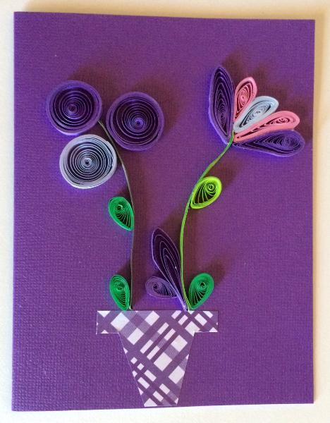 Purple vase with flowers handmade quilling greeting card artistic purple vase with flowers handmade quilling greeting card kristyandbryce Images