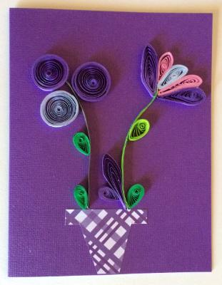 Purple vase with flowers handmade quilling greeting card.