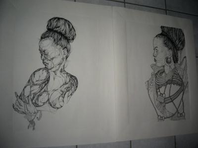 Intermediate Drawing at UCSD, Final Project Diptych (Pen)