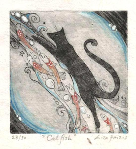 Little Cat with Fish etching hand painted limited edition cat etching
