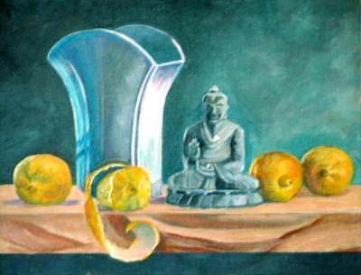 Buddha with Vase and Lemons