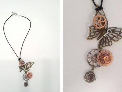 """18"""" cord necklace, Steampunk Butterfly"""