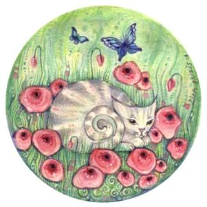 Little Cat with Poppies