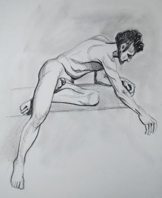 Bearded Nude Man, Seated