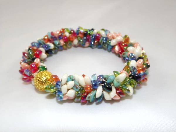 B-42 ivory, red, blue, peach, green, & orange spikey bracelet