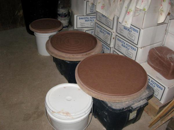 Platters drying in the studio
