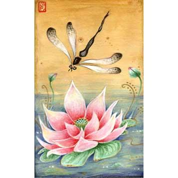 Dragonfly and Lotus Zen art print on rice paper