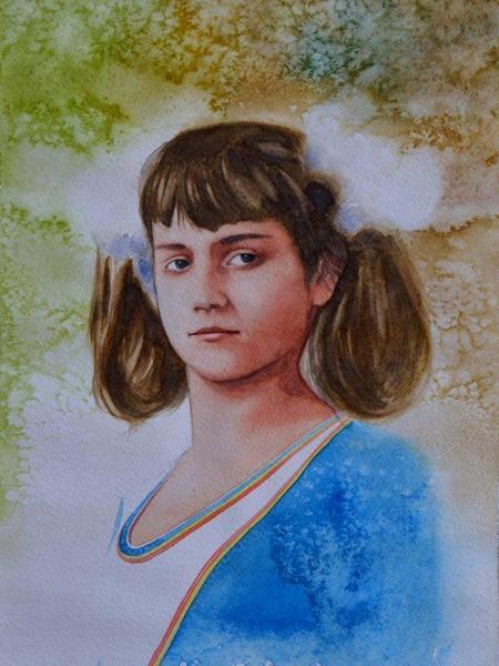 Portrait of Romanian gymnast NADIA COMANECI, 40cm x 25cm, 2015