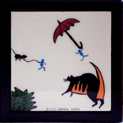 """4"""" tile mounted on black wooden box"""