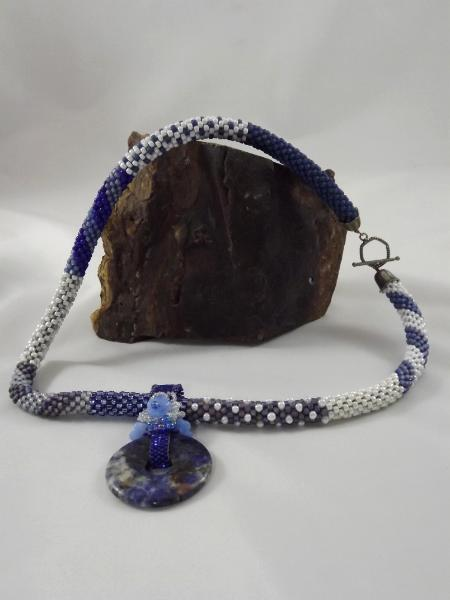 Blue & White Crocheted Patchwork Necklace with Pendant
