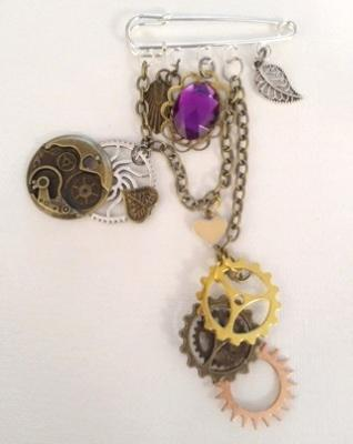 SP Bar pin with assorted charms