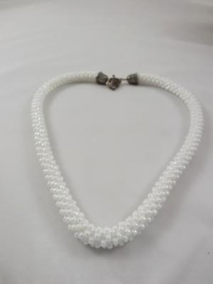 N-15 White Crocheted Rope Necklace