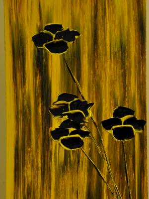 Flowers on Primary Color Series (1 of 3) 15 X 30 Acrylic on Canvas board Embellished prints available