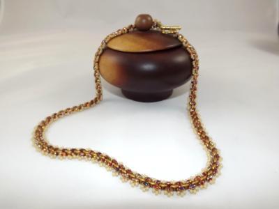 N-64 Iridescent Gold & Matte Bronze Woven Necklace