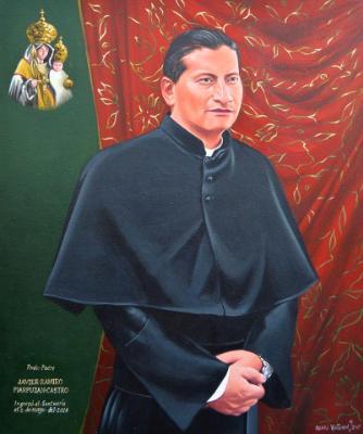 Oil portrait of Father XAVIER PIAZPUEZAN, 50cm x 60cm, 2015