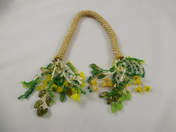 T-1 Pale Satin Yellow Crocheted Tassel Rope