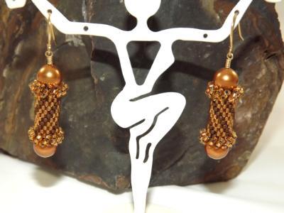 E-109 Bronze Bead Tube Earrings