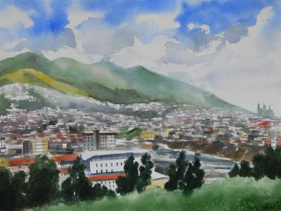 Mi Quito es un edén de maravillas - Ecuador, 38cm x 56cm (WATERCOLOR DEMONSTRATION)