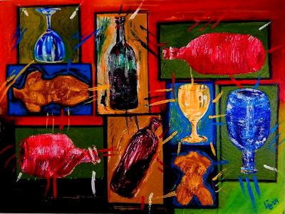"""""""Picnic"""" Painting 2 In My Wine Series - Acrylic on Canvas"""