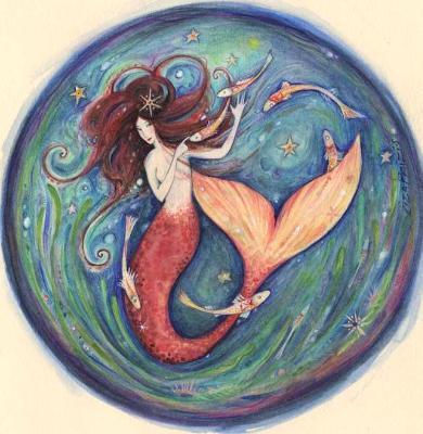 Little Mermaid original watercolor painting mermaid art