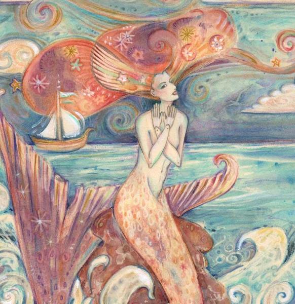 Ulysses Muse art print mermaid siren mythology whimsical art by Liza Paizis