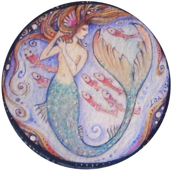 Mermaid Original Watercolor Painting by Liza Paizis