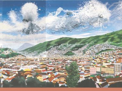Acrylic wall painting COLORFULL QUITO, 750cm X 300cm, 2014